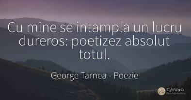 Cu mine se intampla un lucru dureros: poetizez absolut...